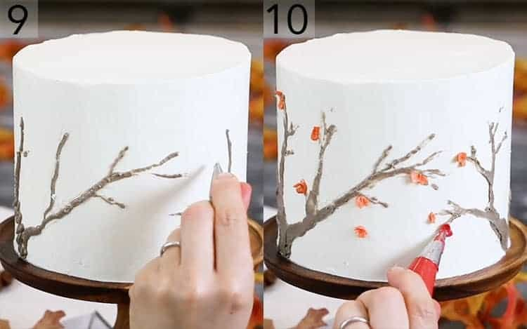 A spice cake getting decorated with an Autumn tree pattern.