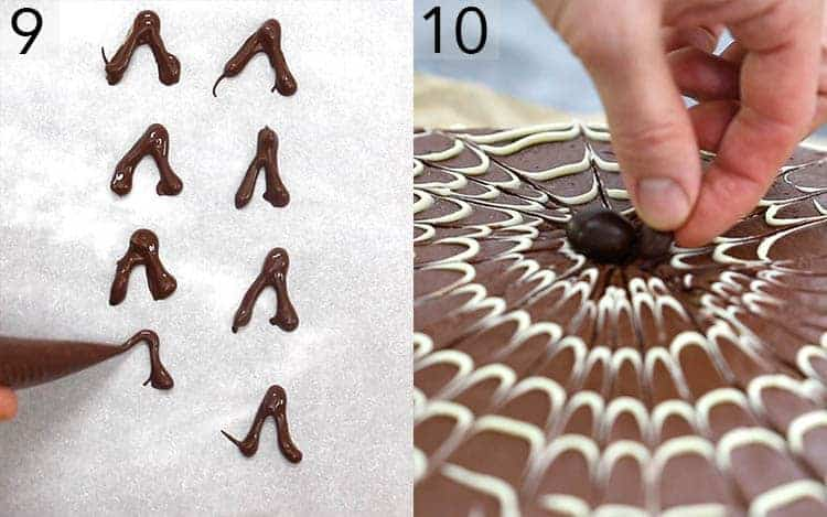A chocolate spider being assembled on a cake.