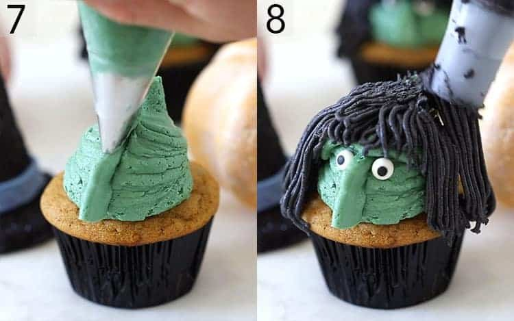 A witch's face with black hair getting piped onto cupcakes.