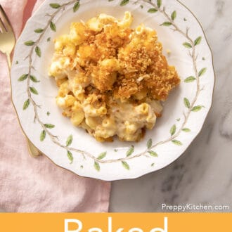 Baked mac and cheese with toasted breadcrumbs on a white plate.