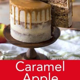 three layer caramel apple cake with caramel drip