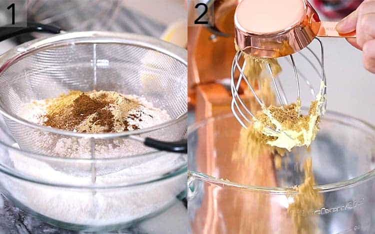 Two photos showing batter for a Christmas cake getting made.