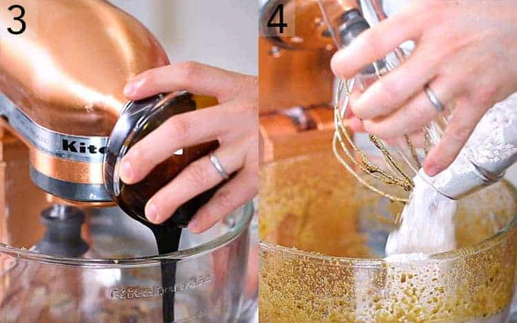 Two photos showing Gingerbread cake batter getting made.