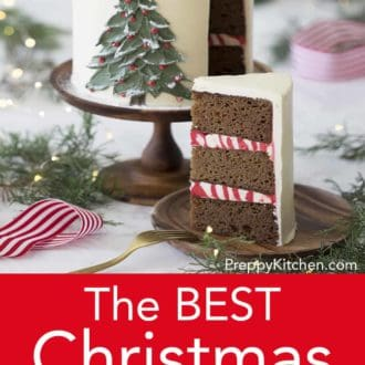piece of three layer christmas cake with hand painted christmas tree decoration