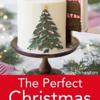 three layer christmas cake with hand painted christmas tree decoration