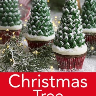 christmas tree cupcakes dusted with powdered sugar