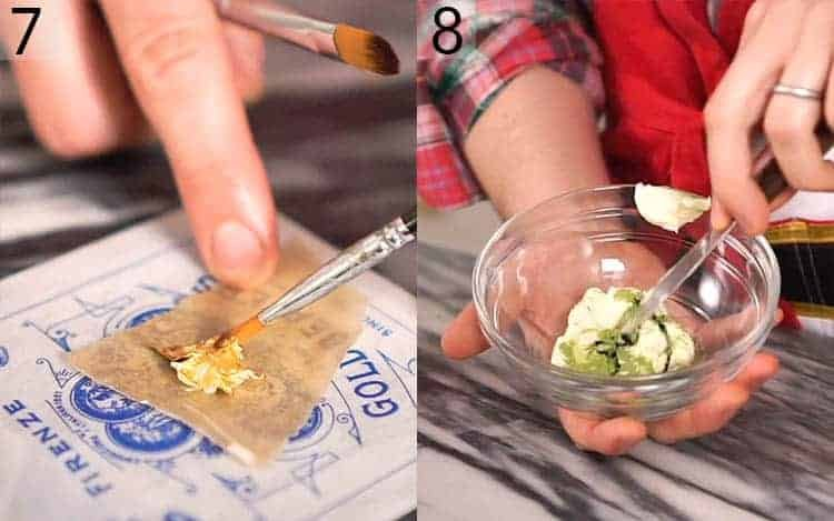 Two photos showing gold leaf being applied to a buttercream star and a batch of buttercream getting colored with matcha
