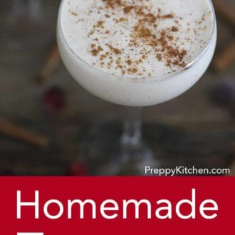 eggnog in a stemmed glass