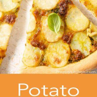 A pinterest graphic of a potato pizza