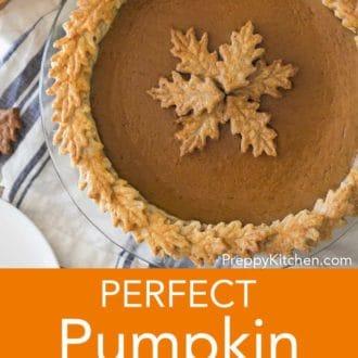 pumpkin pie in a glass pie dish