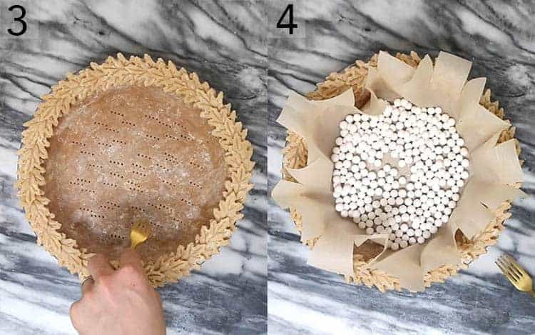 Two photos showing a pie crust being prepared for bling baking with docking and weights