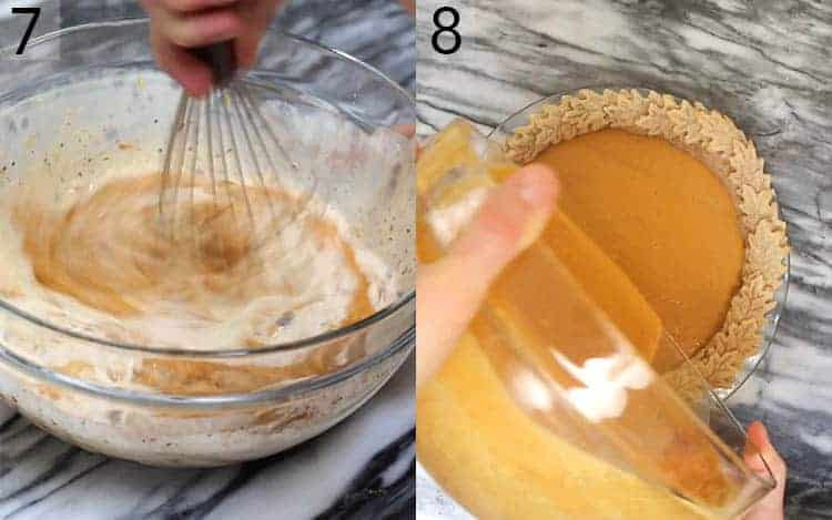 Two photos showing pumpkin pie being whisked then poured into a pie shell