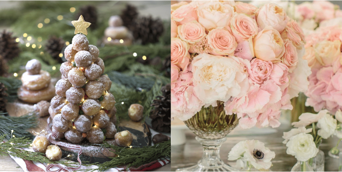 A photo of a Christmas tree made out of doughnut holes and a photo of a beautiful arrangement of flowers.