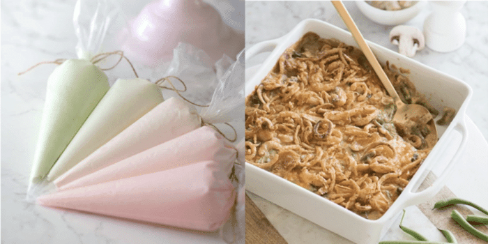 A photo of colored buttercream in piping bags and a photo of green bean casserole.