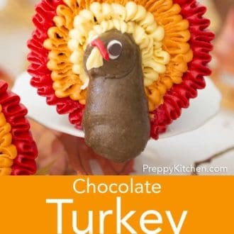 chocolate cupcakes with buttercream turkey decor