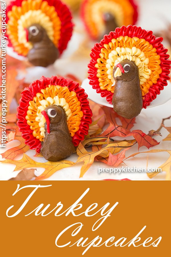 Fun and surprisingly easy to decorate turkey cupcakes that taste delicious and will brighten up every dessert plate. These are some turkeys you don't have to feel bad about eating!