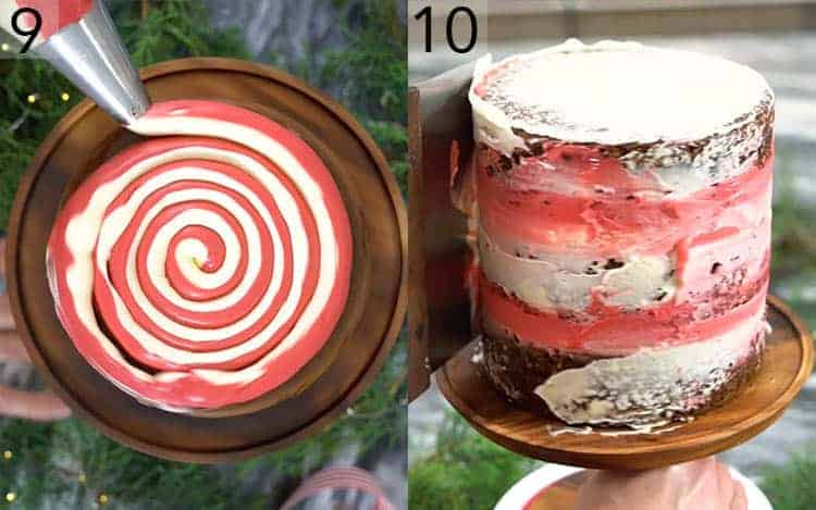 Two photos showing a Chrsitmas cake being assembled with a red and white swirl inside.