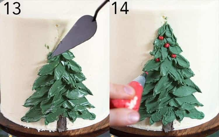 Two photos showing a Christmas tree being painted onto a cake with buttercream