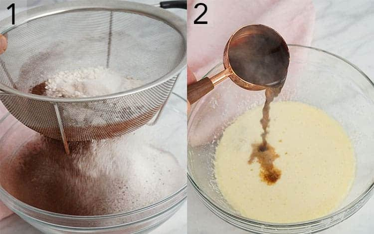 Two photos showing chocolate cupcake batter being made.