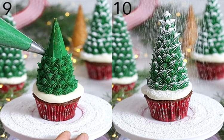 Christmas tree cupcakes getting piped with green buttercream and dusted with powdered sugar.