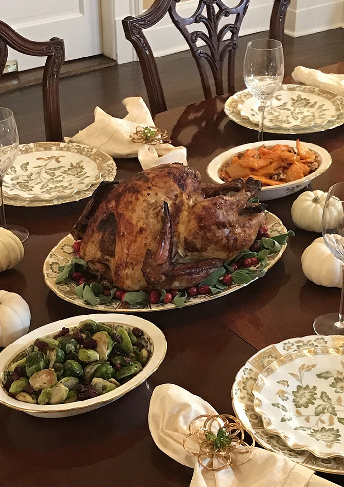 A photo of a Thanksgiving spread.