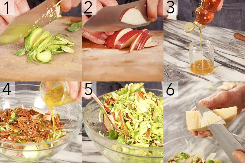 A photo showing steps on how to make a shaved Brussel sprouts salad.