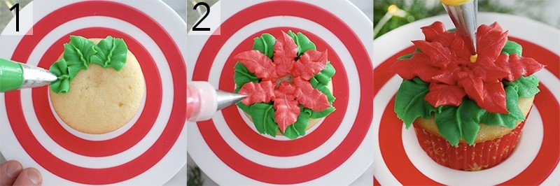 A photo showing steps on how to pipe a poinsettia onto a cupcake.