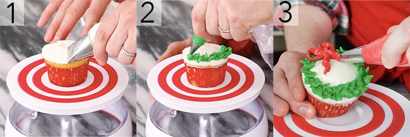 A photo showing steps on how to pipe a Christmas wreath onto a cupcake.