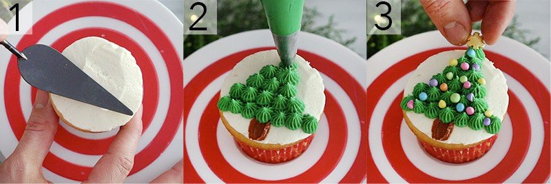 A photo showing steps on how to pipe a Christmas tree onto a cupcake.