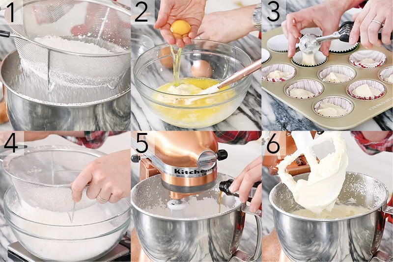 A photo showing steps on how to make cupcakes.