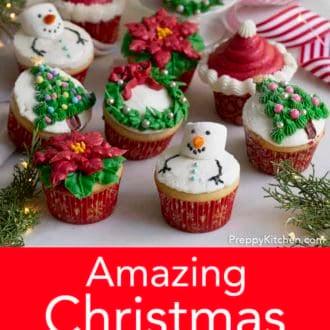 assorted christmas cupcakes
