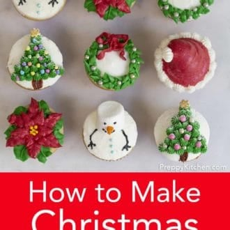 assorted christmas cupcakes in a grid