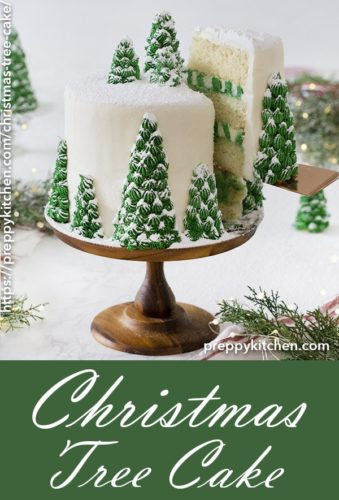 A clipping of a Christmas tree cake decorated with edible Christmas trees.