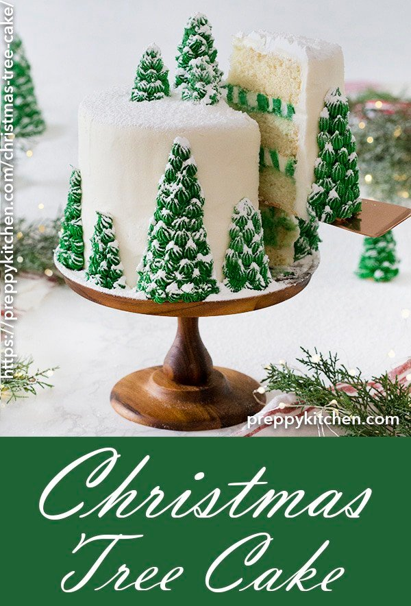 A delicious vanilla cake with creamy, dreamy vanilla buttercream. Topped with beautiful, edible Christmas trees, this cake is it's own winter wonderland.