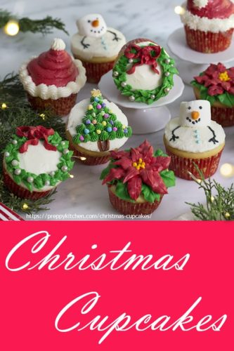 A photo of a geroup of Christmas cupcakes decorated with buttercream