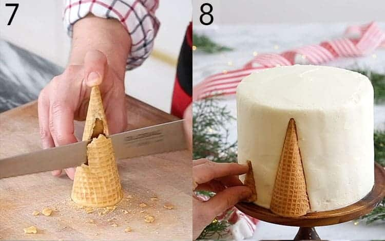 Ice cream cones getting cut in half and applied to a cake.