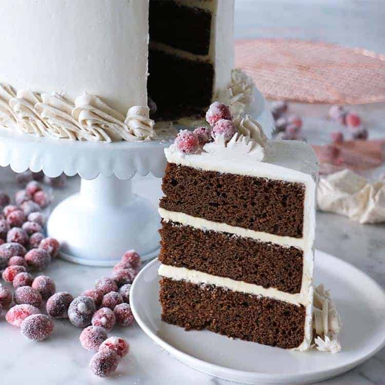 A piece of gingerbread cake topped with sparkling cranberries on a white plate.