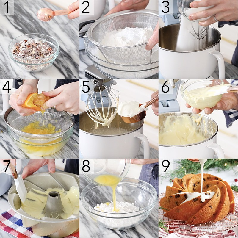 A photo showing steps on how to make an olive oil bundt cake.