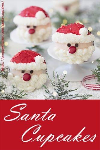 A photo of Santa cupcakes with Christmas Lights.