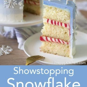 piece of snowflake layer cake on a plate