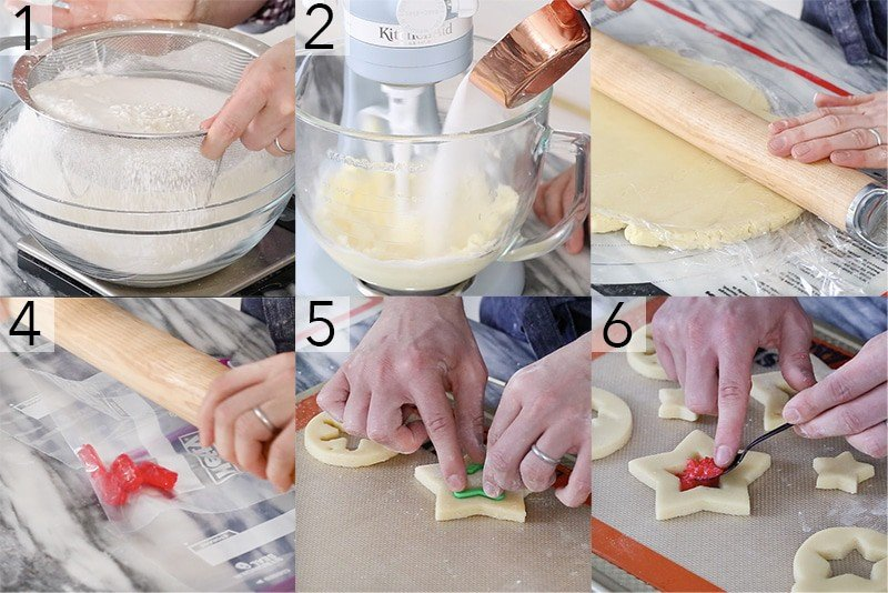 A photo showing steps on how to make stained glass cookies.