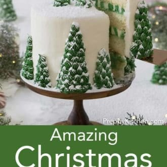 christmas cake with christmas tree decoration topped in powdered sugar