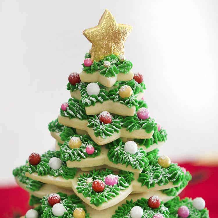 A Christmas tree made from star-shaped sugar cookies.