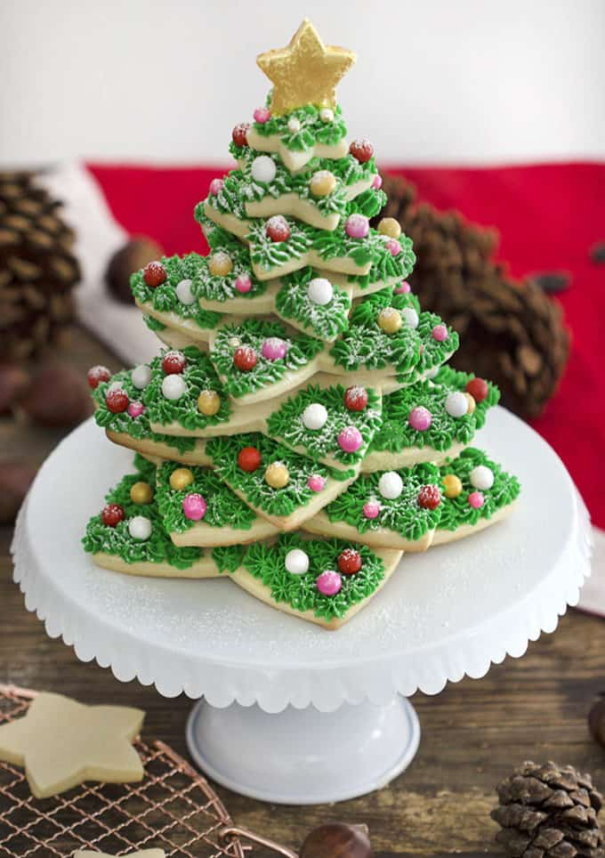 A Christmas cookie tree made from sugar cookies and buttercream.