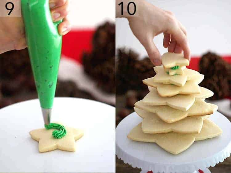 Star-shaped sugar cookies getting stacked to form a tree.