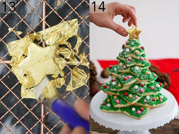 A gold star getting placed on a cookie tree.