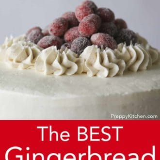 top of gingerbread layer cake
