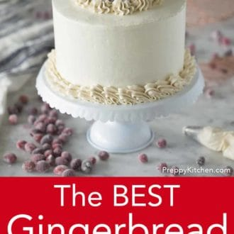 gingerbread layer cake on a cake stand