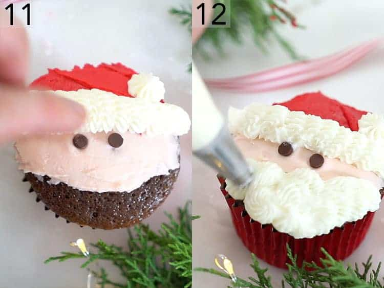 Chocolate chip eyes and a buttercream beard being added to a Santa cupcake.