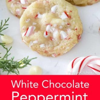 white chocolate peppermint cookies on a counter